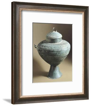 Amphora with Bronze Cover Decorated with Embossed Geometric Shapes, from Tomb C, Cavalupo in Vulci--Framed Giclee Print