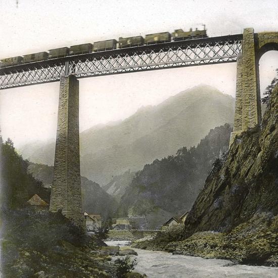 Amsteg (Switzerland), the Bridge of the Saint-Gothard Railroad, over the Reuss River, Circa 1865-Leon, Levy et Fils-Photographic Print