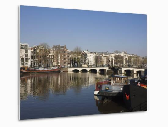 Amstel River and Magere Bridge, Amsterdam, Netherlands, Europe-Amanda Hall-Metal Print