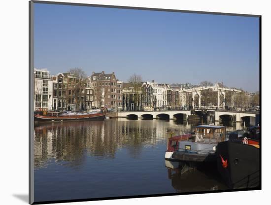 Amstel River and Magere Bridge, Amsterdam, Netherlands, Europe-Amanda Hall-Mounted Photographic Print