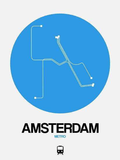 Subway Map Of Amsterdam.Amsterdam Blue Subway Map Art Print By Naxart Art Com