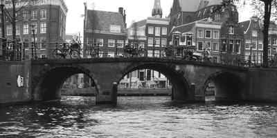 Amsterdam Buildings by Canal with Bridge-Anna Miller-Photographic Print