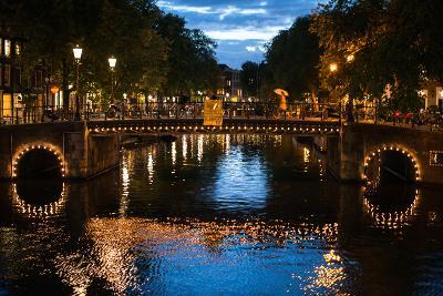Amsterdam Canal at Night I-Erin Berzel-Photographic Print