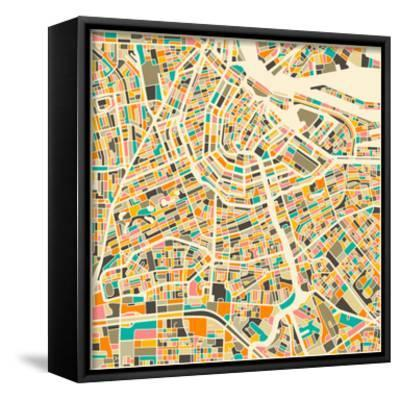 photo relating to Printable Map of Amsterdam referred to as Amsterdam Map Framed Canvas Print via Jazzberry Blue