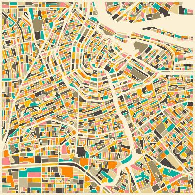 Amsterdam Map-Jazzberry Blue-Art Print