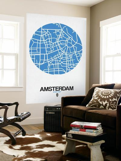 Amsterdam Street Map Blue-NaxArt-Wall Mural