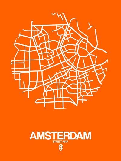 Amsterdam Street Map Orange-NaxArt-Art Print