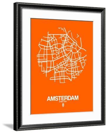 Amsterdam Street Map Orange-NaxArt-Framed Art Print