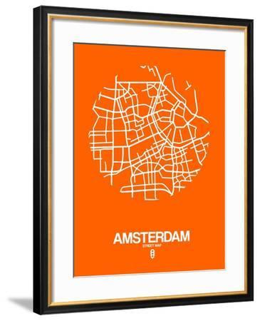 Amsterdam Street Map Orange-NaxArt-Framed Art Print