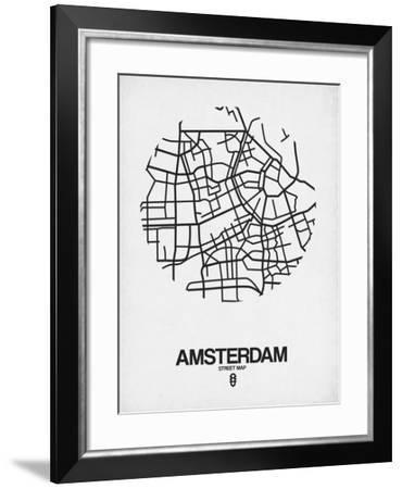 Amsterdam Street Map White-NaxArt-Framed Art Print