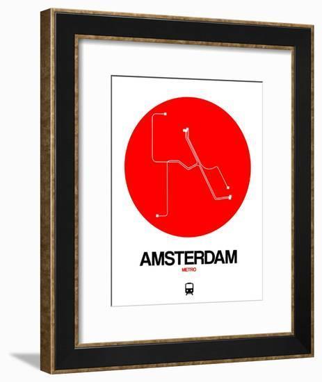 Amsterdam White Subway Map-NaxArt-Framed Art Print
