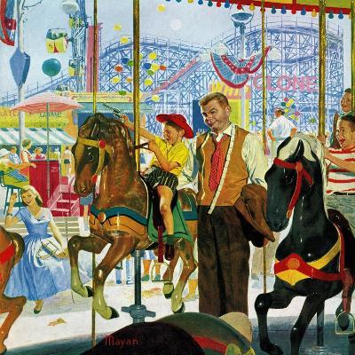 """Amusement Park Carousel"", August 9, 1958-Earl Mayan-Giclee Print"