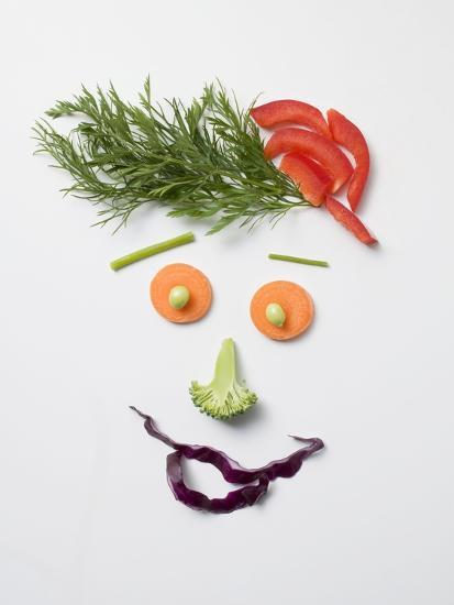 Amusing Face Made from Vegetables and Dill--Photographic Print