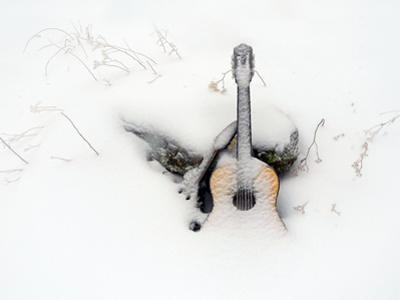 An Old Guitar and a Mandolin Blanketed in Fresh Snow by Amy & Al White & Petteway