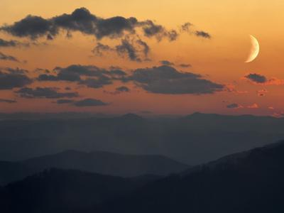 Crescent Moon at Sunset over the Blue Ridge Mountains