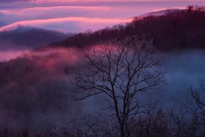 Sunset and Low Clouds Over the Blue Ridge Mountains by Amy & Al White & Petteway
