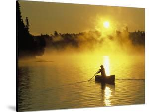 Silhouetted Canoeist, Boundary Waters, MN by Amy And Chuck Wiley/wales