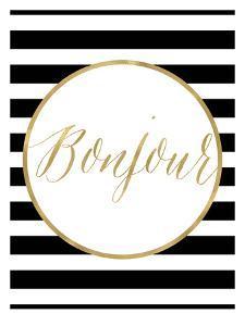 Bonjour Black White Stripe by Amy Brinkman