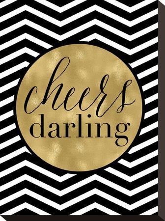 Cheers Darling Black White Chevron by Amy Brinkman