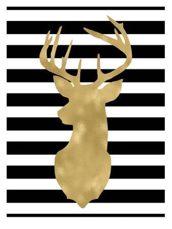 Deer Head Left Face Black White Stripe by Amy Brinkman