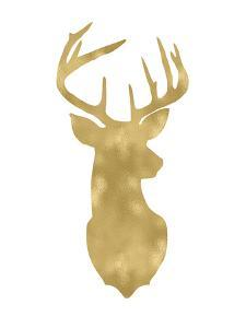 Deer Head Right Face Golden White by Amy Brinkman