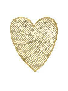 Heart Crosshatched Golden White by Amy Brinkman