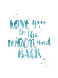 Love You To Moon Back Watercolor Blue by Amy Brinkman