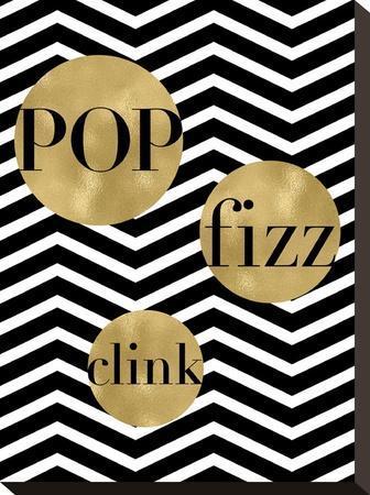 Pop Fizz Clink Black White Chevron by Amy Brinkman