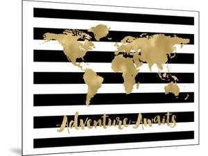 World Map Black White Stripe Adventure Awaits by Amy Brinkman