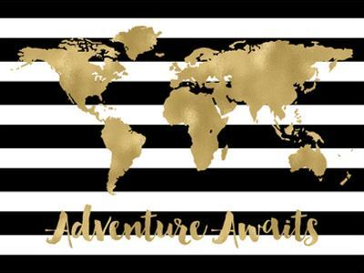 World Map Black White Stripe Adventure Awaits by Amy Brinkman