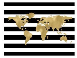 World Map Black White Stripe by Amy Brinkman