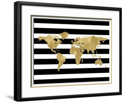 World Map Black White Stripe by Amy Brinkman