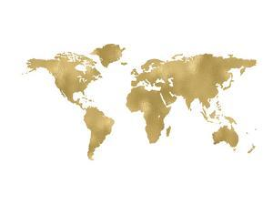 World Map Golden White by Amy Brinkman