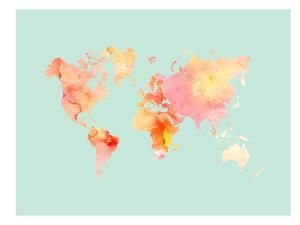 World Map-Pastel Watercolor by Amy Brinkman