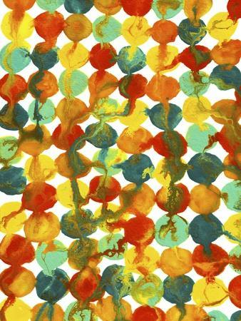 Teal Yellow Red Orange Abstract Flowing Paint Pattern