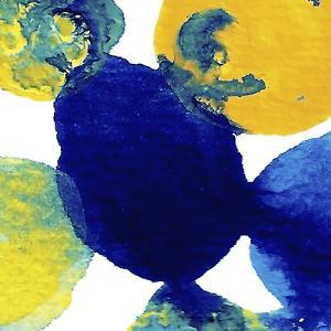 Yellow and Blue Abstract Flowing Paint by Amy Vangsgard