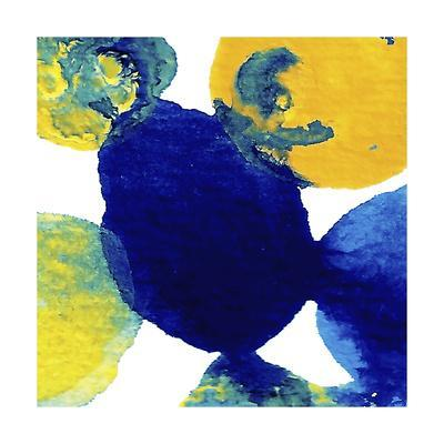 Yellow and Blue Abstract Flowing Paint