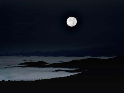 A Blue Moon over Cloud-Filled Valleys of the Blue Ridge Mountains