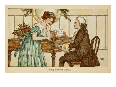 An 18th Century Couple Gaze Deeply into Each Other's Eyes over a Harpsichord--Giclee Print