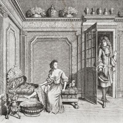 An 18th Century Lady Taking a Footbath Is Interrupted by a Suitor. from Illustrierte Sittengeschich--Giclee Print
