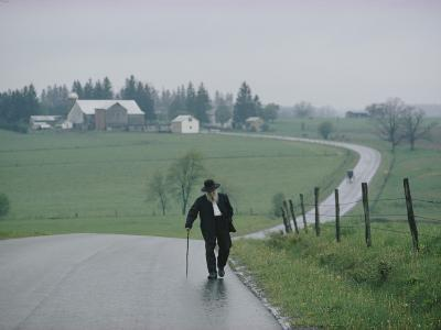 An 81 Year Old Amish Man Walks to the Amish Church on Sunday Morning-Robert Madden-Photographic Print