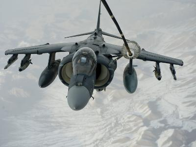 An A/V-8B Harrier Receives Fuel Over Afghanistan from a KC-10 Extender-Stocktrek Images-Photographic Print