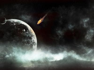 An Abandoned Planet About to Get Hit by a Gigantic Asteroid-Stocktrek Images-Photographic Print