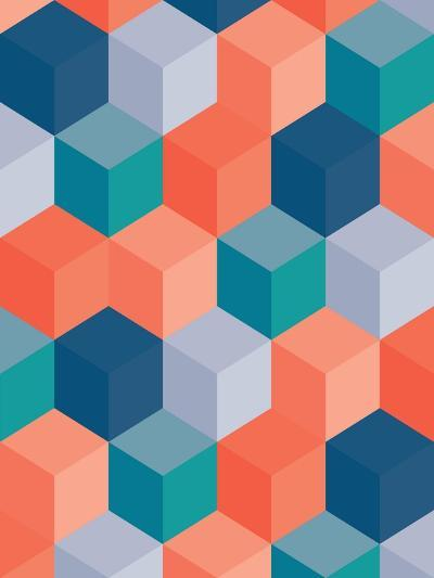 An Abstract Geometric Vector Background with Blocks-Mike Taylor-Art Print