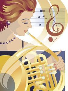 An Abstract of a Caucasian Female Symphony Musician Playing the French Horn