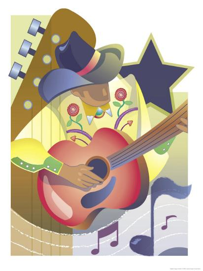 An Abstract of a Male Country-Western Musician Playing an Acoustic Guitar--Art Print
