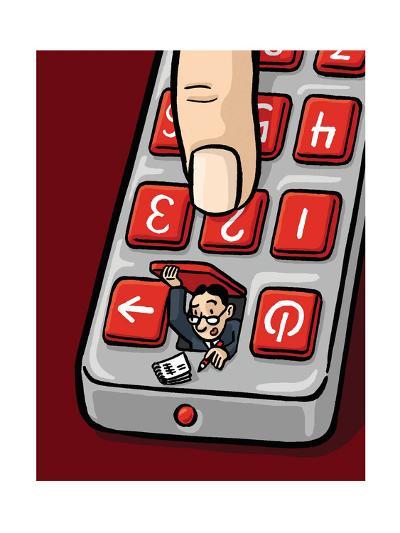 An accountant pops out of a remote - Cartoon-Christoph Niemann-Premium Giclee Print
