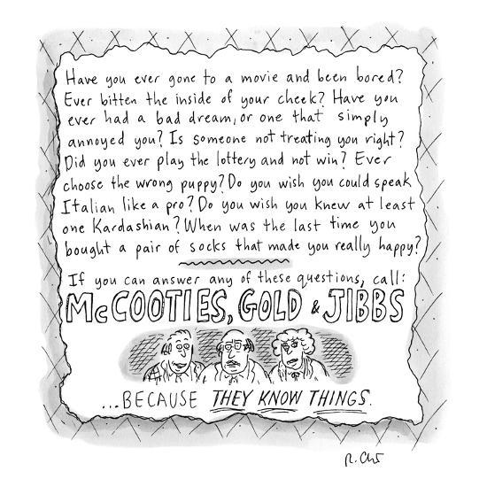 An ad for McCooties, Gold, &  Jibbs. - New Yorker Cartoon-Roz Chast-Premium Giclee Print
