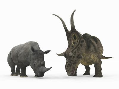 An Adult Diabloceratops Compared to a Modern Adult White Rhinoceros-Stocktrek Images-Photographic Print