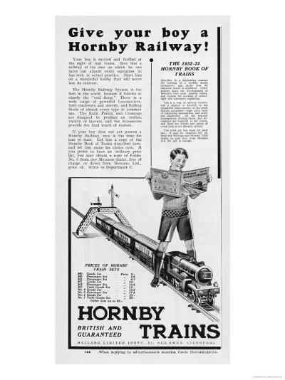 An Advertisement for Hornby Model Train Sets--Giclee Print